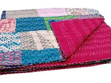 Kantha Quilt Patchwork Handmade  Cotton Blanket King Size Bed Cover Duvet Cover