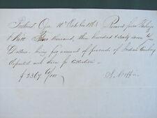 """Portland Oregon Pioneer General Stephen Coffin orig 1863 signed """"Indian Voucher"""""""