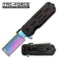 TAC FORCE Liner Matte Razor Knife with Black Aluminum Handle - Rainbow Blade
