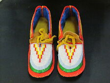 NATIVE AMERICAN FULL BEAD MOCCASINS 9 1/2 INCHES LONG WINNING DESIGNED VAMP