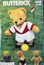 "Vtg 80s Teddy Bear pattern SOCCER sweatsuit Plush 17"""
