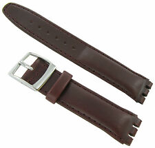 20mm Genuine Oiled Leather Padded Stitched Burgundy Watch Band Fits Swatch