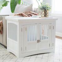 Indoor Dog Crate Double 2 Door End Table Wood Pet Kennel Bedroom Furniture White