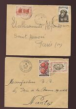 FRENCH IVORY COAST ZUENOULA 1957 + 1962 CDS + DOTTED CIRCLE CANCELS