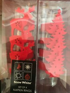 Napkin Rings x 2 Packs Of 4 Reindeers & Christmas Trees