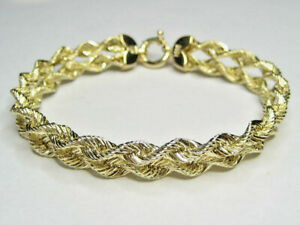 "14K Yellow Gold Bracelet - Double Rope  - 8"" x 10 mm  - 8.69 grams"