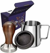 KYONANO Coffee Tamper Dalbergia Odorifer Handle,Milk Pitcher 12oz,Tamper Mat