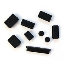 9pcs Silicone Anti Dust Plug Ports Cover Set For Laptop Macbook Pro 13 15 Black