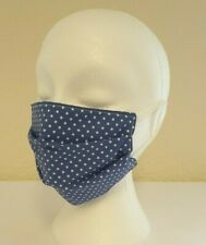 Face Mask Pleated Light Blue Polka Dot (single) Reusable/Washable, Dual Layered.