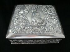 Yogya Silver Ud 800 Deluxe Repousse Hinged Trinket Box Indonesia Asian 566 grams