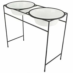 Platinum Pets Modern Double Diner Feeder with Stainless Steel Dog Bowls X-Lar...