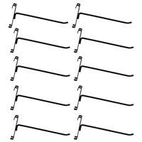 "10 Pc GLOSS BLACK 8"" Long Gridwall Hooks Grid Panel Display Wire Metal Hanger"