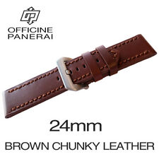 • 24mm Brown Chunky Leather Bracelet / Strap With Buckle For Officine Panerai •