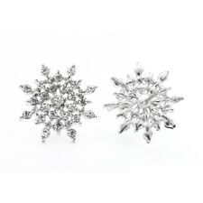 1 Pair Crystal Snowflake Stud Earrings Women Jewelry Gold Silver Christmas Gift