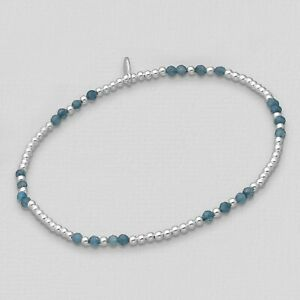 small 925 Sterling Silver and gemstone stacking bracelets - minimalist healing