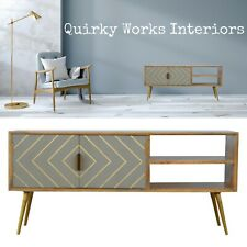 Quirky TV Stand Media Unit Cabinet Grey Brass Retro Danish Mid Century Style