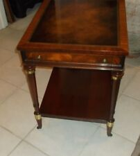 Antique Weiman One drawer Mahogany Leather Top End Table
