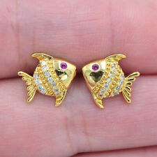 18K Yellow Gold Filled Topaz Fashion Tropical Fish Stud Earrings Girls Jewelry