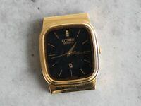 CITIZEN CQ quartz 4031 black dial JAPAN 380261 gold case 27mm watch head PARTS