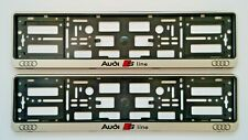 2xSilver S-Line License Number Plate Holder Surround Frame for Audi A3 A4 A5 A6