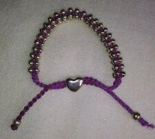 Purple Silk Braided Cord Sterling Silver Heart Shamballa Adjustable Bracelet