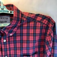 Orvis Men's Surf Washed 100% Cotton Long Sleeve Button Down Red Plaid Shirt XXL