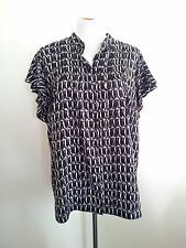 Jane Lamerton size 20 black & white polyester top, mandarin collar & cap sleeves