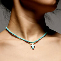 Exclusive 4MM Natural Stone Cross Pendant Necklaces for Women Beaded Choker c