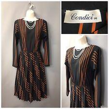 Vintage condici Negra a Rayas Vestido Plisado UK 14 EUR 42