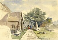 Women in Churchyard, Newton St Loe – Late 19th-century watercolour painting