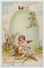 POSTCARD - artist drawn embossed easter greeting, child cupid sharpens arrows