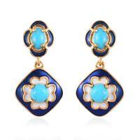 925 Sterling Silver AAA Sleeping Beauty Turquoise Dangle Drop Earrings Gift Ct 2