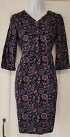 Womens Ness Mcleod Needlecord Charcoal Pink Floral Dress With Pockets 6 Vgc.