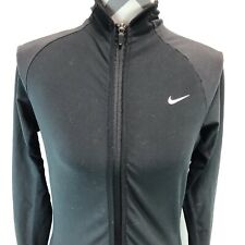 Nike Dri Fit Full Zip Pockets Black Running Jacket Thumbholes Small BBB4