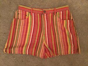 VINTAGE 90s High Waisted Denim Multicolor Shorts Plus Size 14 DOLLS UNIF KILL