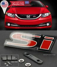 OE ABS Front SI S-i Black Red Grill Emblem Nameplate Logo Badge for Honda Civic