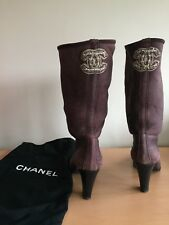 Chanel Size 41, Uk 7-8 Real Fur, Shearling Burgundy Boots, Superb!
