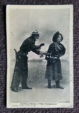"""RARE 1907 Silent Series """"The Tenderfoot"""" cowboy Western Hollywood post card"""
