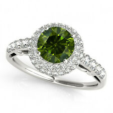 1 Carat Green Diamond Engagement Ring Best Price 14k White Gold Sparkling Color