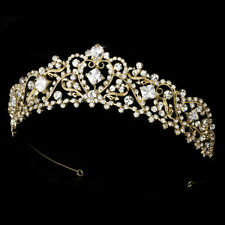 Gold Rhinestone Bridal Wedding Prom Quinceanera Sweet 16 Royal Princess Tiara