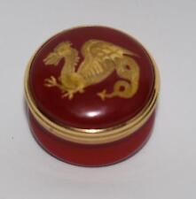 """Halcyon Days """"Golden Dragon"""" Zodiac inspired by Pelmet - Round Trinket Box-Mib"""