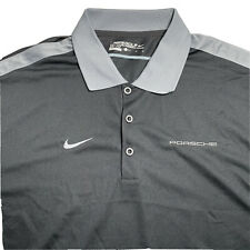 """New listing Men's Nike Golf Dri-Fit Polo Shirt Black """"Porsche"""" Embroidered Large"""