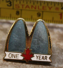 McDonalds One Year Canada Service Award Collectible Pinback Pin Button