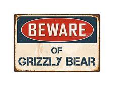 "Beware Of Grizzly Bear 8"" x 12"" Vintage Aluminum Retro Metal Sign VS197"