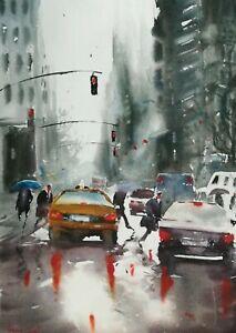 Rain in New York America USA Red Lights Cars Original Watercolour Painting #29