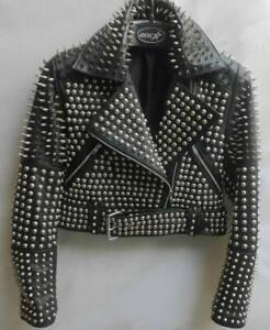 Handmade Women's Black Fashion Full Studded Punk Style Leather Jacket