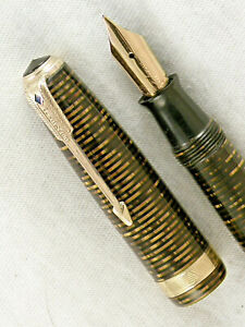 VINTAGE 1946 GOLDEN BROWN  STRIPED PARKER VACUMATIC FOUNTAIN PEN ~ RESTORED!