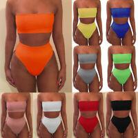 Women Strapless Bandeau High Waist Bikini Set Bathing Swimsuit Swimwear Summer