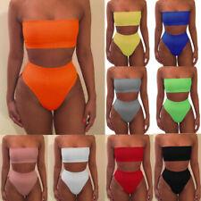 d868df417244d Women Strapless Solid Bandeau High Waist Bikini Set Bathing Swimsuit  Swimwear UK