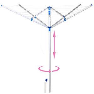 Étendoir parapluie Sechoir à linge Étendoir réglable et rotatif Aluminium Jardin
